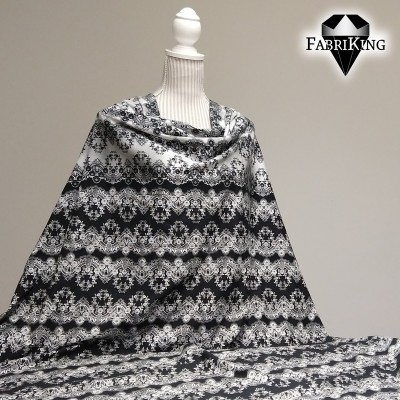 Flower lace black and silver, trikoo