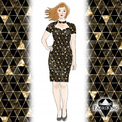 Shine gold black - HUOM: kuosi digitaalisesti siirretty vaatteeseen!