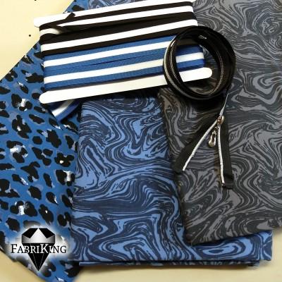 Vasemmalta: Panther blue, Earl jeans, Earl grey -trikoot. Raitanauhat 9. (tummansin.) ja 12. (musta).
