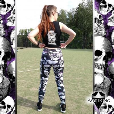 Skull Party purple -urheilutrikoo, kaava: Treenitrikoot Usva, ompelutyö: PuuhakasPaja