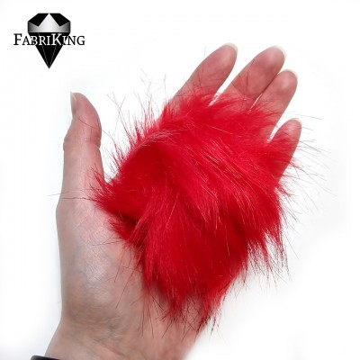 Tupsu, keinoturkista 8cm, punainen