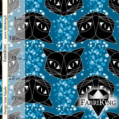 Bubble Cat blue, luomutrikoo (single jersey)