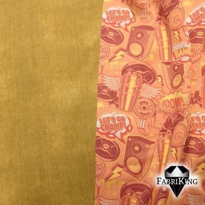 Jeanslook ochre, joustocollege & Champ orange, trikoo