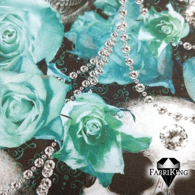 With Love forever turquoise, puuvillasatiini