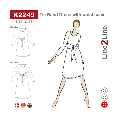 Line2Line:  Tie Band Dress with waist seam