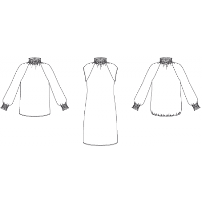 Line2Line: Raglan dress with smock collar