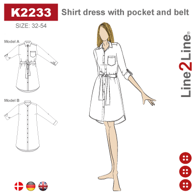 Line2Line: Shirt dress with pocket and belt