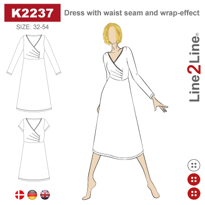 Line2Line: Dress with waist seam and wrap-effect