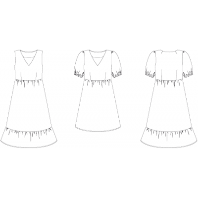 Line2Line: Ruffle dress with puff sleeves