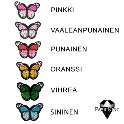 Silitysmerkki perhonen, eri värejä