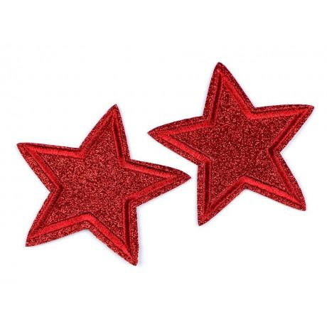 Silitysmerkki glittertähti, punainen