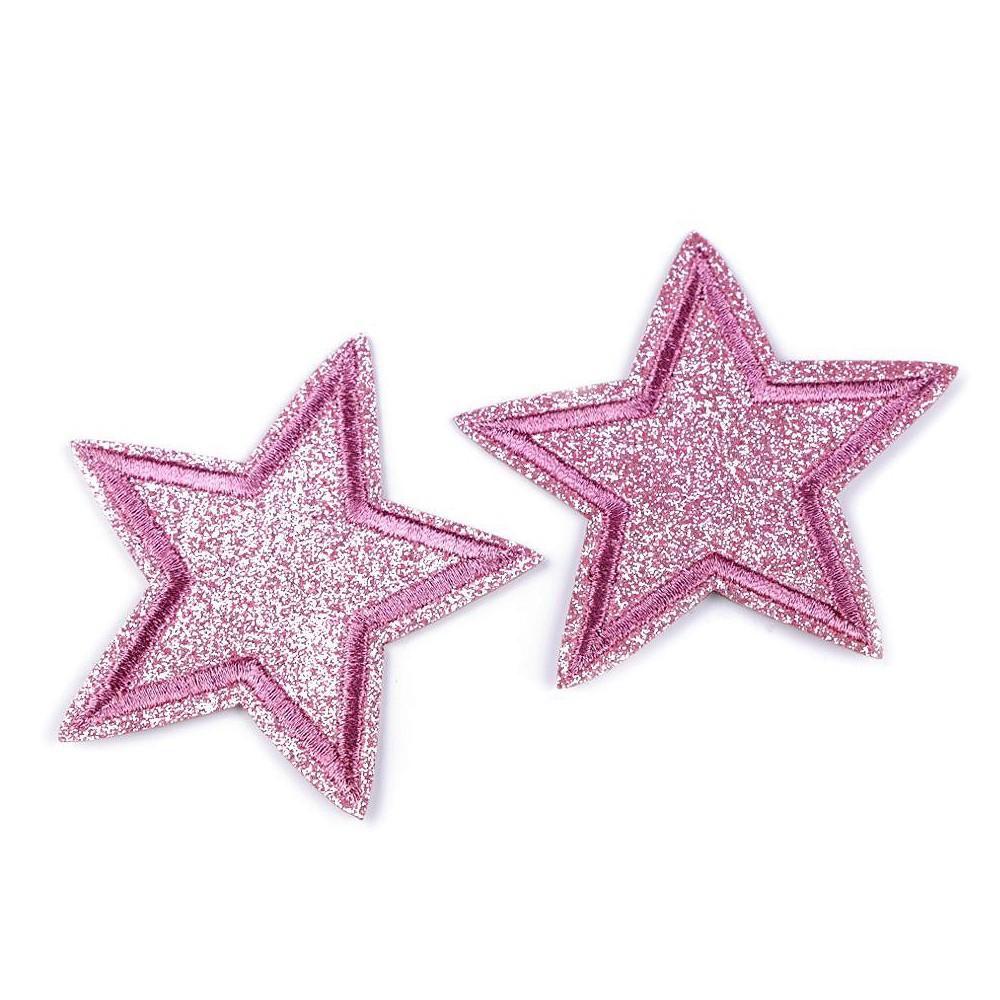 Silitysmerkki glittertähti, vaaleanpunainen