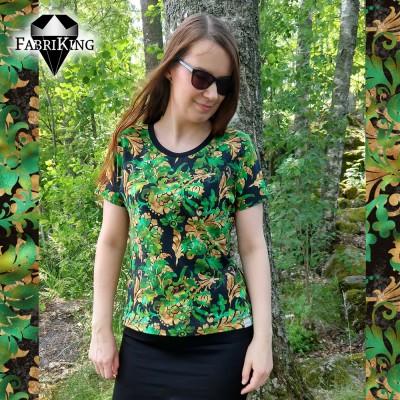 pääntiellä: leveä resori, musta - kangas: Jungle flower green, luomutrikoo