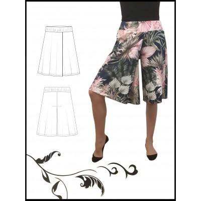 LOIMU-housut, polvipituinen, laskoksella, ilman taskuja