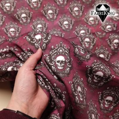 Vintage skulls red wine, puuvillasatiini