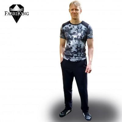 joustocollege, black & Mandala grey, GOTS single jersey