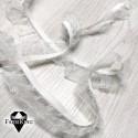 Kuminauha frillalla 25 mm, valkoinen