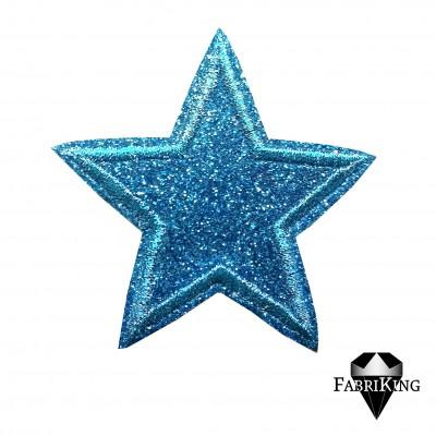 Silitysmerkki glittertähti (6,5 cm), turkoosi