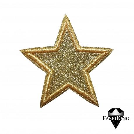Silitysmerkki glittertähti (6,5 cm), kulta