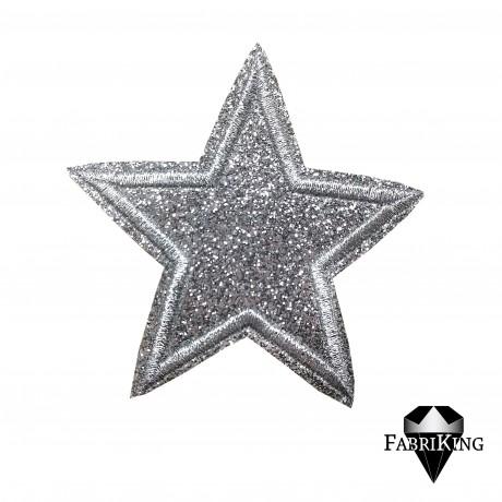 Silitysmerkki glittertähti (6,5 cm), hopea