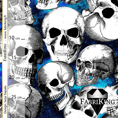Skull Party blue, verkkarikangas