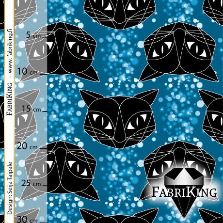 Bubble Cat blue, luomutrikoo