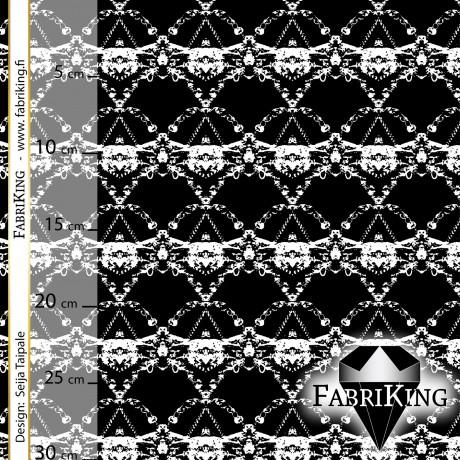 Crystal black-white, puuvillapanama