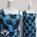 Bubble Cat blue, luomutrikoo (single jersey)
